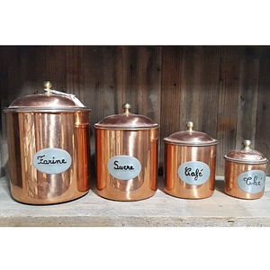 vintage copper canister 4set